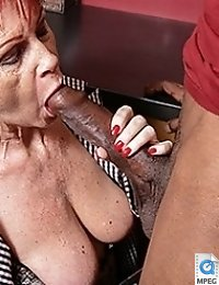 Naughty British mature lady gets a big hard black cock to please her